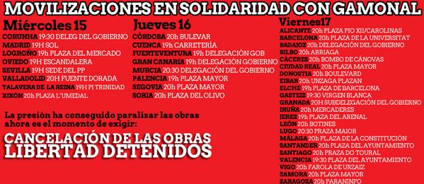 Convocatorias en solidaridad con Gamonal