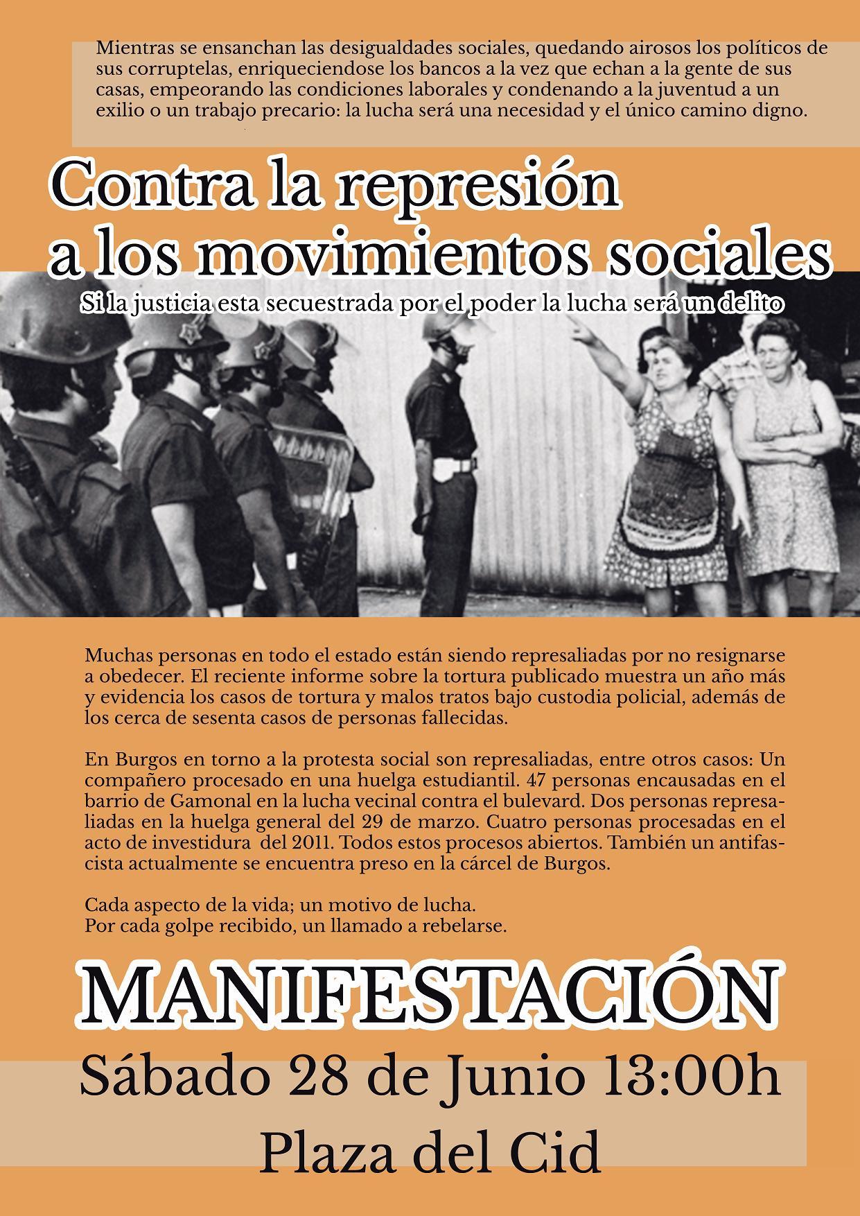Cartel manifestación represión
